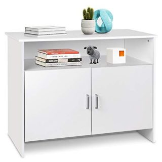amzdeal Kitchen Storage Sideboard Storage Cabinet,Free Standing Cupboard with 2 Level Cabinets and an Open Shelf, Dining Room,Entryway Decor,Living Room,Bedroom,Office (White)