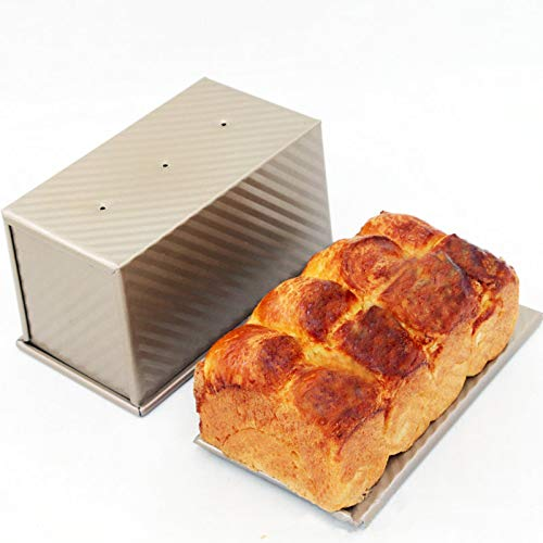 Loaf Pan, Carbon Steel Bread Pan with Lid Bread Loaf Pan for Baking Baking Pan for Meatloaf, Mini loaf, Pullman loaf, Golden, by Ayuboom(8.3 X 4.8 X 4.6 Inch)