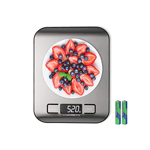 Digital Kitchen Scale, Multifunction Food Scale Measure weight(MAX:11LB/5KG/176OZ) accurately, Stainless Steel Scale digital weight, Tare Function, Large LCD Display, Waterproof, 4 unit(G/ML/OZ/LB.OZ)