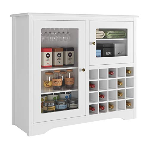 HOMECHO Wine Bar Storage Cabinet Wood Kitchen Buffet Server with 20-Bottle Display Rack Holder and Glass Hooks, Liquor Cupboard Sideboard Table, Modern Dining Room Furniture, White
