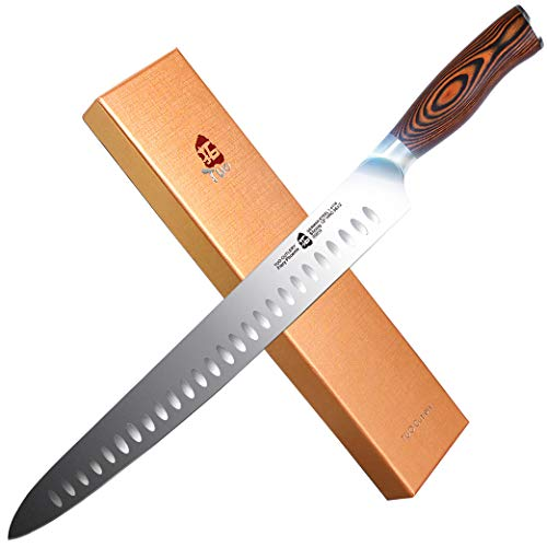 """TUO Slicing Carving Knife - HC German Stainless steel - Meat Knife with Ergonomic Pakkawood Handle - 12"""" - Fiery Series"""