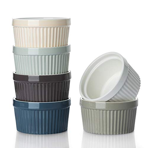 DOWAN 8 oz Ramekins - Ramekins for Creme Brulee Porcelain Ramekins Oven Safe, Classic Style Ramekins for Baking Souffle Ramekins Ramekins Bowls, Set of 6, Colorful
