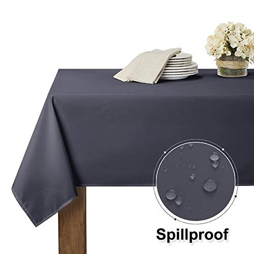 RYB HOME Spillproof Table Cloth for 8 ft Rectangle Table Stain Resistant Tabletop Decor for Kitchen & Dining Washable Tablecloth for Buffet Picnic Outdoor Ues, 60 x 102 inch, Grey