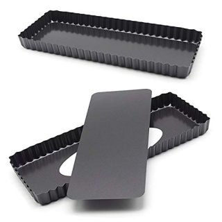 """14.4"""" x 5.9"""" Non-Stick Rectangle Tart Quiche Pie Pan with Removable Loose Bottom - Pack of 2, Black"""