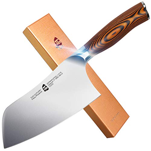 """TUO Cutlery Vegetable Meat Cleaver Knife - Chinese Chef's Knife - HC German Stainless Steel with Pakkawood Handle with Case - 7"""" - Fiery Series"""