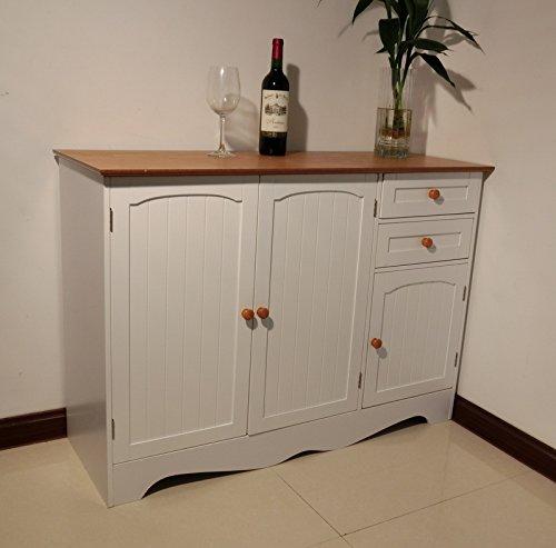 Homecharm-Intl 43.31x15.8x30.7 Inch Storage Cabinet,White with Veneer top,Brown knobs (HC-001)