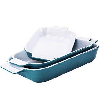 Hompiks Baking Dish Casserole Dish Porcelain Bakeware Sets for the Oven Baking Dishes Set of 3 for Lasagna Kitchen Blue 11.02 x 8.35 Inch Baking Pans