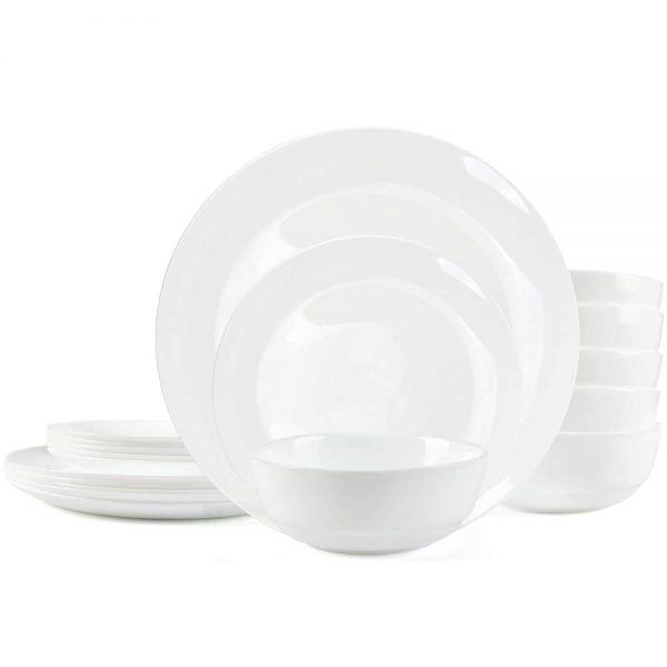 """Dinnerware Set Danmers 18-piece Opal Dishes Sets Service for 6 Plates Bowls 5.5"""" Break and Crack Resistant Dish Sets"""