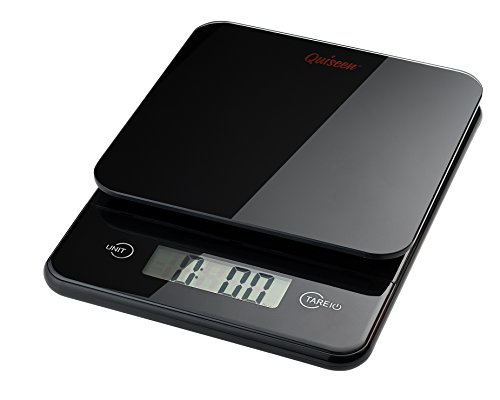 Quiseen Compact Digital Kitchen Food Scale - 11lbs / 5kg Capacity (Black)