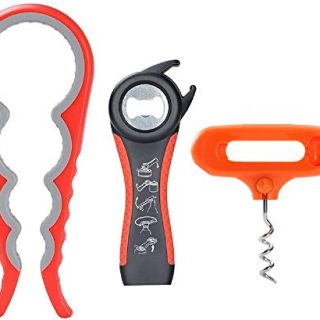 PANDAPOK Jar Opener and Bottle Opener with Silicone.5-in-1 Multi Kitchen Tools Set and 4-in-1Jar Grip Opener and Wine Opener Easy Twist off for Elderly, Arthritic and Weak Hand, Pack of 3(red-orange)