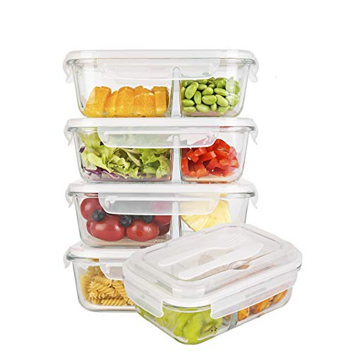 Glass Meal Prep Containers Compartment (5-Pack)