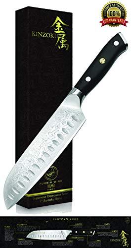 Kinzoku Damascus Steel Knife Santoku Japanese Knives VG10 Sharp Knife Full Tang Knife Stainless Steel Damascus Knife Knive Knifes for Kitchen Cooking Chefs Men Women Boys, Use with Sharpening Stone