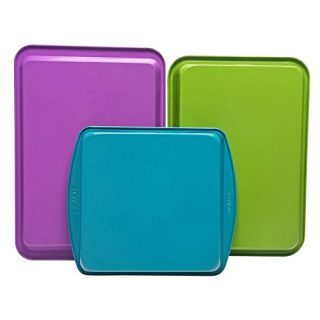 casaWare 3pc Multi-Color and Size Baking Set (Cookie Jelly Roll/Rectangular/Square Cake Pan)