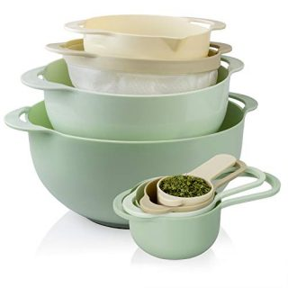 Cook With Color 8 Piece Nesting Bowls with Measuring Cups Colander and Sifter Set | Includes 2 Mixing Bowls, 1 Colander, 1 Sifter and 4 Measuring Cups, Mint Green