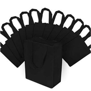 Small Black Reusable Gift Bags, Shopping Bags with Handles, Grocery Bags, Fabric Tote Bags, Merchandise Bags, Foldable, Strong and Eco Friendly 12 Pcs. 8x4x10""