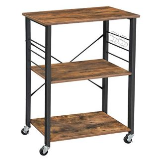 VASAGLE ALINRU Kitchen Baker's Rack, Microwave Oven Stand Storage Cart, 3-Tier Serving Cart with Metal Frame and 6 Hooks, Industrial Design, Rustic Brown UKKS60XV1