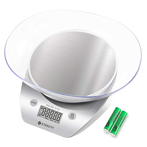 Etekcity Food Scale with Bowl, Digital Kitchen Weight Grams and Ounces for Cooking and Baking, 1g Increment, Large LCD Display, Silver/Stainless Steel