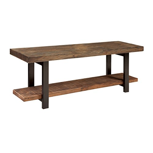 Reclaimed Wood Bench with Open Shelf