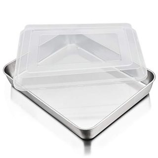 P&P CHEF Baking Sheet Pan with Airtight Lid, Stainless Steel Lasagna Cake Pan and Plastic Lid, 12.5 Inch Rectangular Bakeware for Baking Reheating Roasting Storing, Heavy Duty & Dishwasher Safe