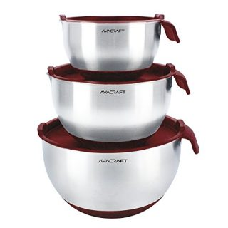 AVACRAFT 18/10 Top Rated Stainless Steel Mixing Bowls with Lids, non slip silicone base bowls with Handle, Mixing Bowl Set with Pour Spouts & Measurement Marks, Home Essentials Cooking Bowls, (Red)