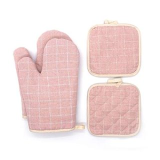 Pretty Jolly Oven Mitts and Pot Holders Sets 4 pcs for Kitchen Heat Resistant Toaster Oven mits with Recycled Cotton Quilted Potholders for Women Home Cooking Baking Cute Pink Kitchen Mittens