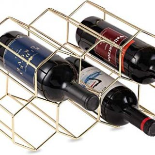 DCIGNA Gold Wine Rack Countertop, Freestanding Bottle Holder, Tabletop Wine Rack 7 Bottles - Metal Brushed Gold & Suitable for All Standard and Oversized Bottles (Gold - 7 Bottles)