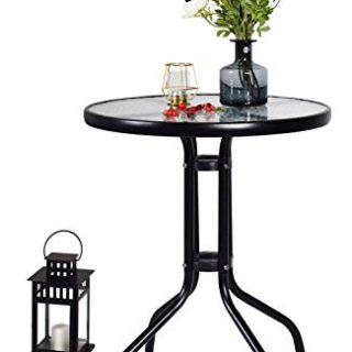 Kitchen Dining Table Metal Bracket Glass End Side Table/Coffee Table/Desk/Wine Table Used in Living Room Courtyard Dining Room Outdoor and Indoor (Black)