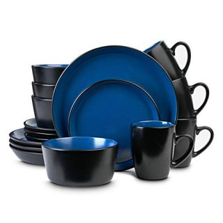 Stone Lain Stoneware Dinnerware Set, Service For 4, Blue and Black