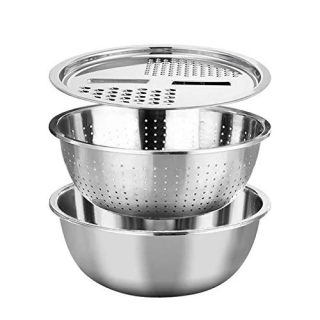Multifunctional Stainless Steel Basin,3 In 1 Stainless Steel Kitchen Serving Bowl, Vegetable Fruits Julienne Slicer and Colander Strainer for Restaurant Kitchen or Home Kitchen
