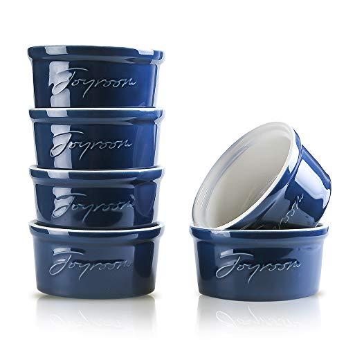 Joyroom 8 Oz Porcelain Ramekins, Souffle Dish Ramekins, Creme Brulee Ramekins Bowls for Baking, Pudding, Letter Collection Set of 6 (8 oz, Indigo)