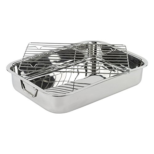 "Stainless Steel Heavy Duty 16"" Lasagna/Roasting Pan with Rack"