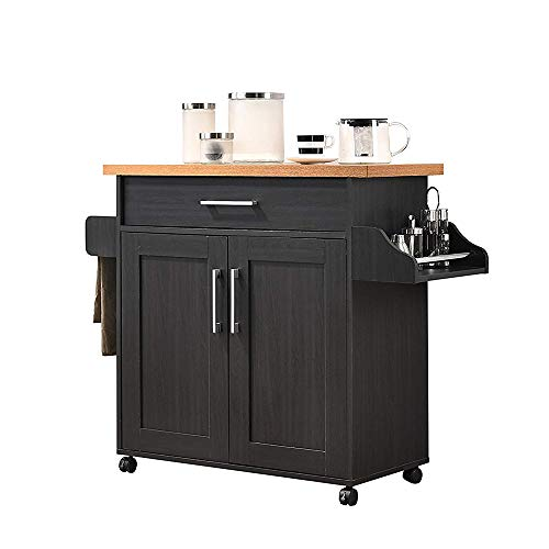 Wood Stainless Steel Multi- Storage Rolling Wheels Kitchen Cart