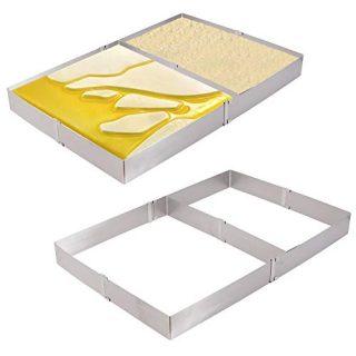 KINJOEK Square Cake Mold Ring, Retractable Stainless Steel Adjustable rectangular Mousse Cake Milk Bar Mold Cake DIY Baking Mould Tool