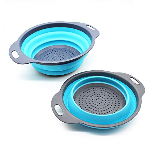 Collapsible Colander, Colander Collapsible Silicone With Handle Collapsible Corner Colander Food-Grade Silicone Kitchen Strainer Space-Saving Design For Pasta, Blue