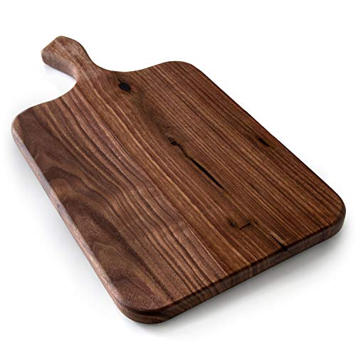 Brazos Home Large Organic Wood Cutting Board Used for Serving, Chopping Fruit, Vegetables or Meat and as a Charcuterie Platter, Seasoned Dark Walnut, 16.5 x 8.5 x .75