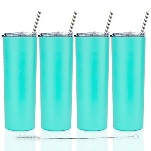 Double Wall Insulated Tumblers with Lids and Straw