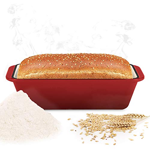 WEES-CK Enameled Cast Iron Loaf Pan, Bread Baking Mold, Meatloaf pan, Casserole (Cherry)