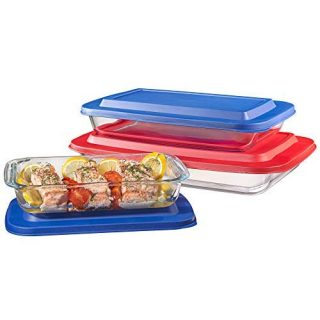 Bovado USA Set of 3 Upgraded Rectangular Glass Bakeware Set with Multi-Color BPA-Free Lids | Superior Oblong Glass Baking Dishes for Casseroles, Lasagna, Leftovers, Cooking, | Essential Kitchen Items