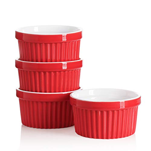 Sweese 501.404 Porcelain Souffle Dishes, Ramekins for Baking - 8 Ounce for Souffle, Creme Brulee - Set of 4, Red