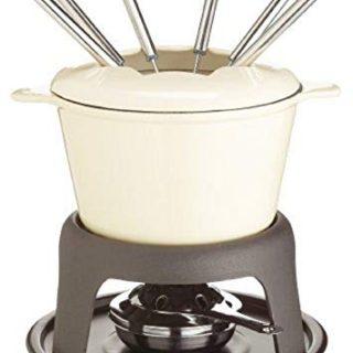 Kitchen Craft Master Class Cast Iron Enamelled Beige Fondue Set