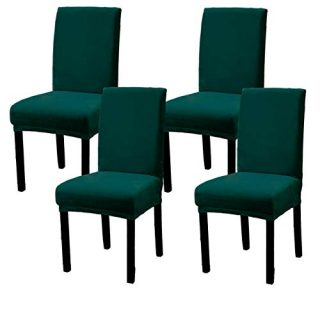 Argstar 2,4,6 Pack Velvet Dining Rooms Chair Covers, Velvet Slipcover for Dining Chair, Parsons Chair Cover Velvet, Armless Chair Cover for Dining Room, Kitchen Chair Cover Set of 4, Green