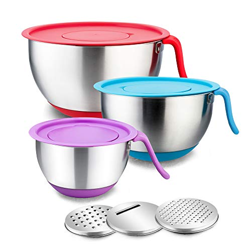 Stainless Steel Mixing Bowls with Lids, E-far Metal Mixing Bowl Set with 3 Graters, Long Handle, Pour Spout, Non-Slip Bottom & Stackable, Great for Cooking, Baking, Prepping, Set of 3-5/3/1.5 QT
