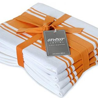 AMOUR INFINI Classic Stripe Kitchen Dish Towels | 4 Pack | 28 x 20 Inch, Over Sized | Multi-use Kitchen Towels |100% Ring Spun Premium Cotton | Highly Absorbent Tea Towels | Orange