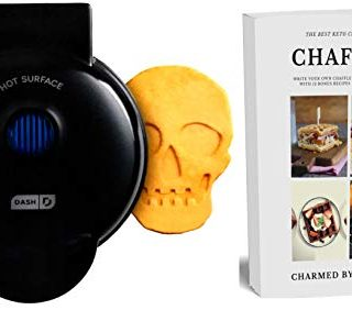 """Dash MINI 4"""" Waffle Iron With The Best Keto Chaffle Recipe Book and Journal by Charmed By Dragons (4 Inch MINI BLACK SKULL)"""
