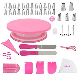 Pink Cake Decorating Tools Supplies Kit,65-Piece Ultimate Baking Tools and Cake Decorating Rotating Turntable Set with 24-Piece Regular Cake Decorating Tips,3 Rose Icing tips,2 Leaf Icing tips