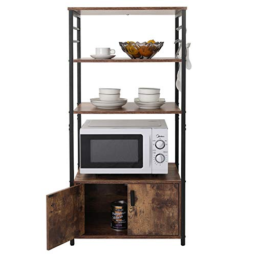 IWELL Tall Kitchen Baker's Rack with Storage Cabinet & 8 Hooks, Microwave Stand with 3 Shelves, Microwave Cabinet with Storage, Cupboard, Sideboard, Utility Storage Shelf for Kitchen, Brown