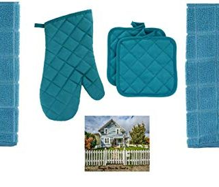 Quilted Teal Oven Mitt, 2 Pot Holders