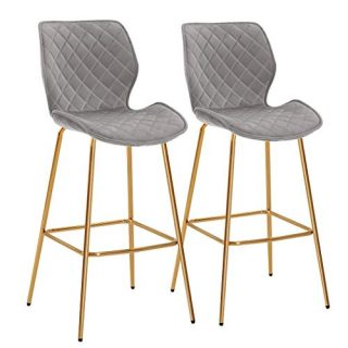 "Duhome Barstools Set of 2, Modern Bar Stool Upholstered Chairs with Gold Metal Legs Height 30"" Tufted Velvet Seat Armless Mid Back for Kitchen, Coffee Shop, Bar, Home Balcony Grey"