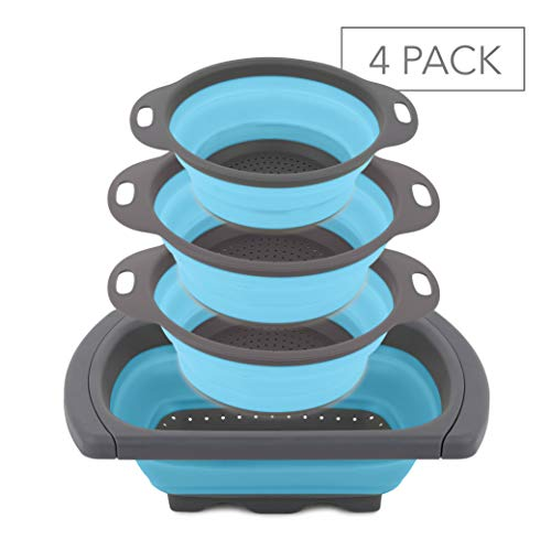 Homeries Kitchen Collapsible Colander (Set of 4) – One 6-Quart, Two 4-Quart & One 2-Quart Folding Silicone Food Strainer with Ergonomic Handles – Perfect for Draining Pastas, Spaghetti, Vegetables,