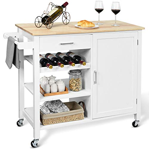 Island Cart Rolling Kitchen Serving Cart Wood Trolley with Drawer